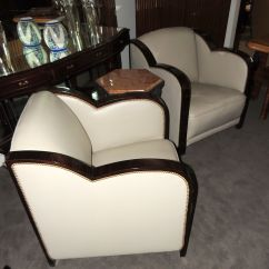 Art Deco Style Club Chairs Beach Chair Cover French Leather   Seating Items Collection