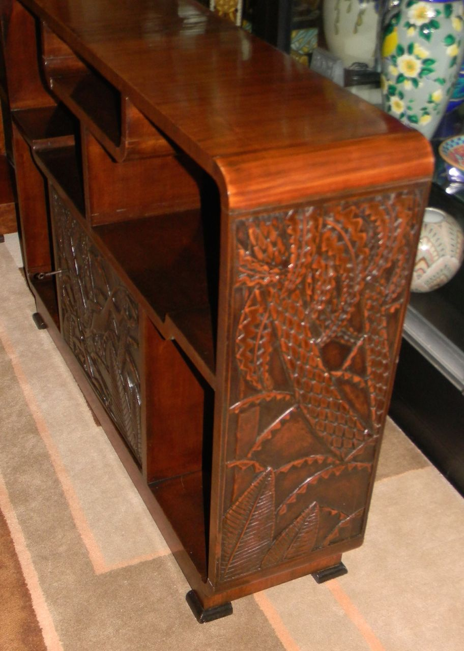 African Carved Exotic Art Deco Bar Storage  Bars  Art