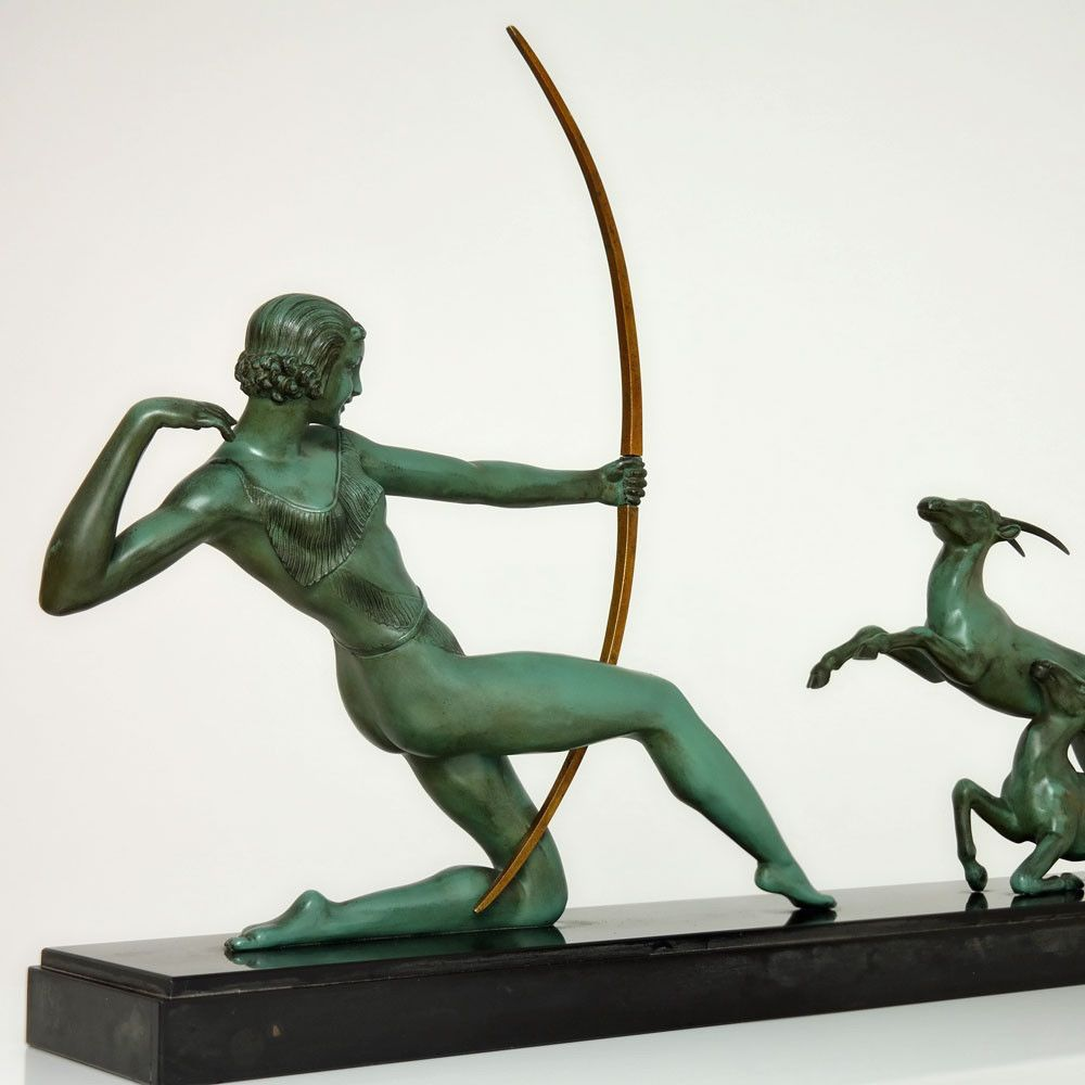 French Art Deco Diana The Huntress Sculpture by URIANO  Sold Items Statues  Art Deco Collection