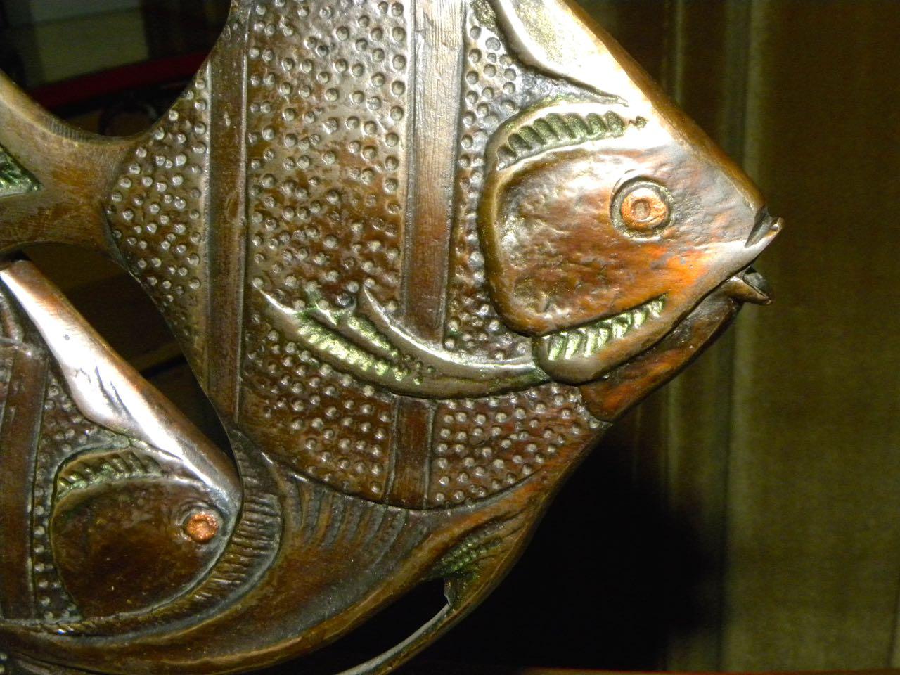 Bronze Art Deco Angel Fish Statue with Gecko  Statues