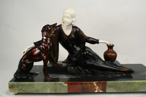Menneville Art Deco Bronze  Ivory Statue Female with Dogs