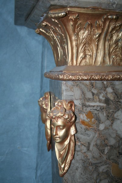 French Empire Cast Bronze 24kt Gold  Marble Pedestal
