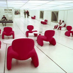 2001: A Space Odyssey | White room, red Djinn chairs, white floor | Production Design Porn | Director Stanley Kubrick