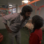Alice Doesn't Live Here Anymore (1974) | Martin Scorsese production design | Martin Scorsese Films | Kris Kristofferson gets upset with Ellen Burstyn's son at party with balloons and streamers in background