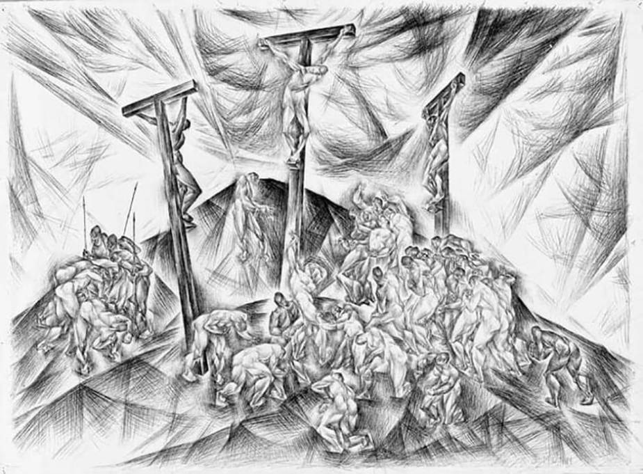 The Crucifixion (Passion Series) | c. 1934-1935 |pen and black ink over graphite on wove paper |57 x 77.2 cm by Kathleen Munn