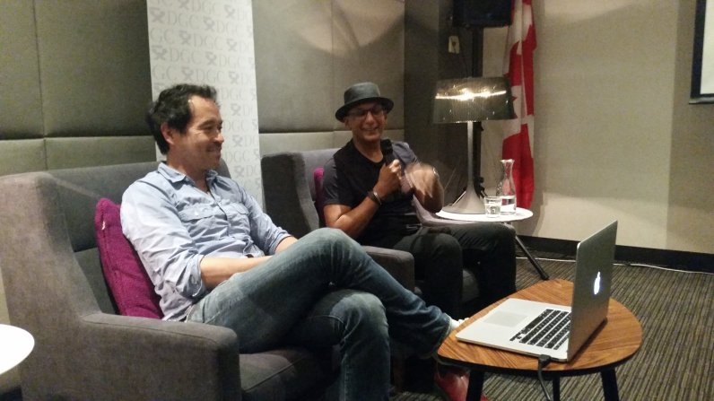 Production Designer Paul Austerberry on the left and production Designer Arv Grewal sit and discuss Paul's work