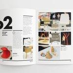 Design magazine laying open on white table