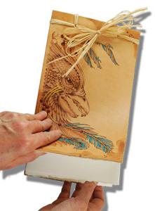 Pyrography, Wood burning leather journal by Lora S Irish