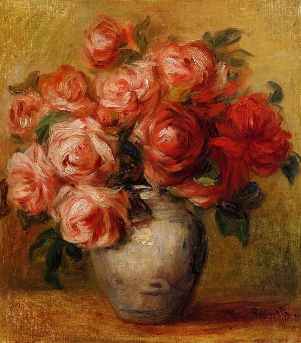 Poinsettia sponge paintings ImpressionismRenoir Art