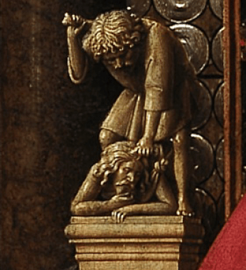 Jan van Eyck Virgin and Child with Canon van der Paele 1436. Detail
