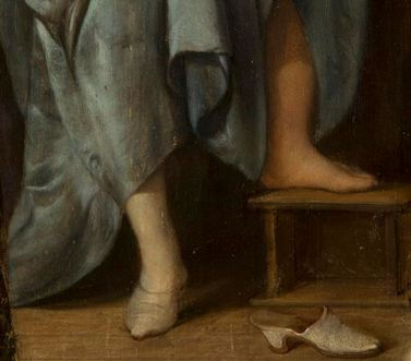 Eglon van der Neer, Interior with a Woman Washing her Hands 1675. Detail