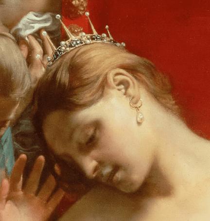 1659, Guido Cagnacci, Death of Cleopatra, Kunsthistorisches Museum, Vienna. Detail