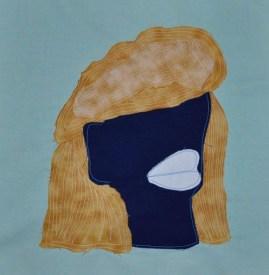 "Big Hair Brenda, fabric, 12""x12"", 2016"