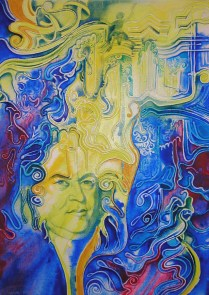 J. S. Bach, 70x50cm, acrylic colour, canvas, 2001