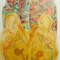 Déja vu, 70x50 cm, watercolor, canvas, 2000