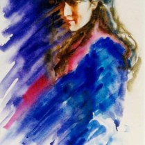 Portrait of Lenka, 60x45 cm, watercolor