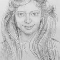 Lesia's Portrait, 60x40 cm, pencil drawing