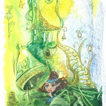 Illustration for Svetlana Majchrakova's book The Elves and the Knighthood. Combined technique