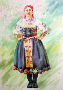 Woman in Slovak folk costume , 70x50 cm, watercolor