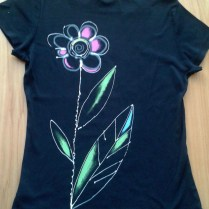 Black T-shirt with flowers, cotton