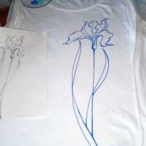 White Shirt with Iris, cotton