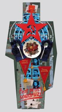 Terč č.5. ČEST PRÁCI, SOUDRUZI! 122,5x60x5, sololit na ráme, akryl, asambláž / ready-made Obraz o praxi socialistickej propagandy a vykorisťovaní entuziazmu pracujúceho ľudu zaslepeného komunistickou ideológiou za účelom totálnej manipulácie s ich vedomím Мішень №5. ЧЕСТЬ ПРАЦІ, ТОВАРИШІ! 122,5x60x5, оргалит на рамі, акрил, aссамбляж / ready made Зображення практики соціалістичної пропаганди яка експлуатує ентузіазм трудящіх які є засліплені комуністичною ідеологією з метою тотальної маніпуляції з їх свідомістю Target No.5: HONOUR WORK, COMRADES! 122,5x60x5, fibreboard on a frame, acrylic, assemblage / ready-made A picture of socialist propaganda practise and of the exploitation of the enthusiasm of working people infatuated with communist ideology in order to totally manipulate the people's consciousness