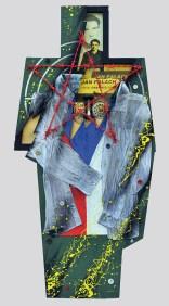 Terč č.11. JAN PALACH 11.08.1948 - 19.01.1969 122,5x60x5, sololit na ráme, akryl, asambláž / ready-made Obraz - pamiatka na českého studenta filozofickej fakulty UK v Prahe, ktorý sa 16. januára roku 1969 upálil na protest proti okupácii Československa vojskami Varšavskej zmluvy Мішень №11. ЯН ПАЛАХ 11.08.1948 - 19.01.1969 122,5x60x5, оргалит на рамі, акрил, aссамбляж / ready made Орігінал присвячений пам'яті чеського студента філософського факультету УК у Празі, який 16 січня 1969 підпалив себе в знак протесту проти окупації Чехословаччини військами Варшавського договору Target No.11: JAN PALACH 11.8.1948 - 19.1.1969 122,5x60x5, fibreboard on a frame, acrylic, assemblage / ready-made A picture remembrance of a Czech student of the Faculty of Arts of Charles University in Prague who burnt himself to death on January 16, 1969 in protest againstthe occupation of Czechoslovakia by the troops of the Warsaw Pact