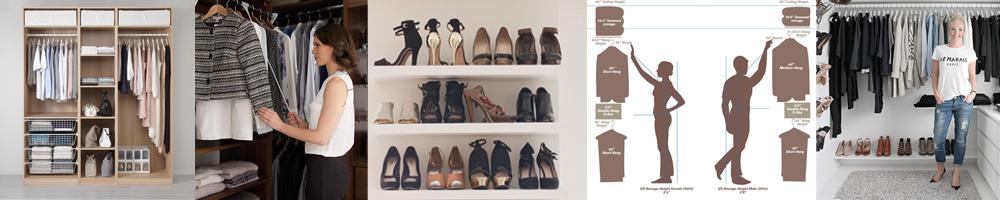 collection de meubles de rangement pour les vêtements et les chaussures