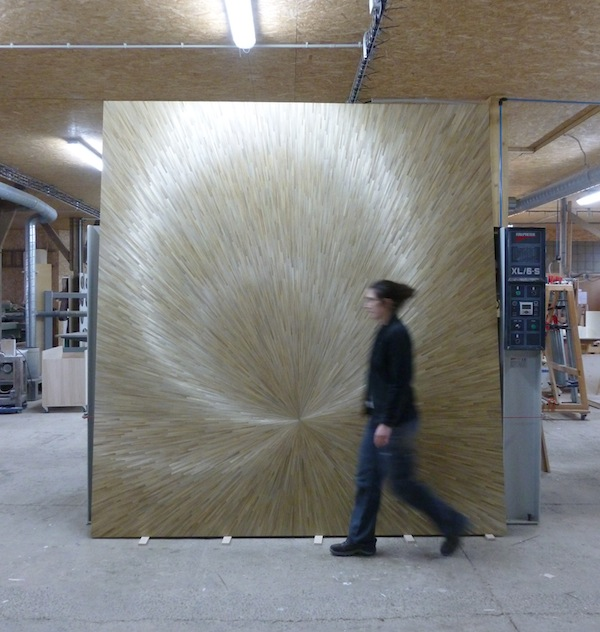 Straw marquetry wall panel panneaux