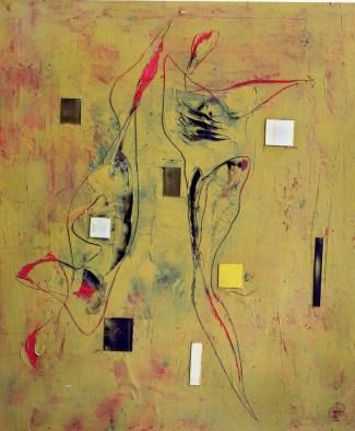 CLAUDIO PALMIERI - Coppia cosmica, 2007, tecnica mista su tavola, 150x125cm