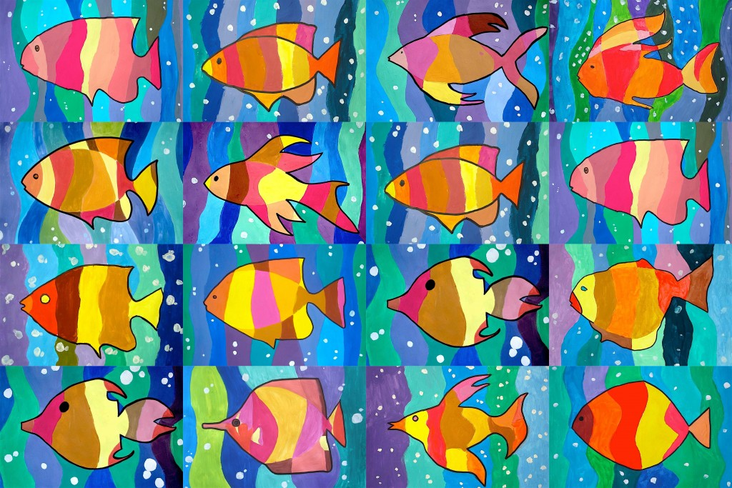 Fishes in warm and cool colors
