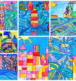 Watercolor landscapes in the style of Paul Klee [ 826 x 1169 Pixel ]