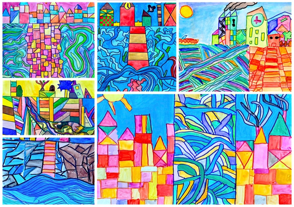 medium resolution of Watercolor landscapes in the style of Paul Klee