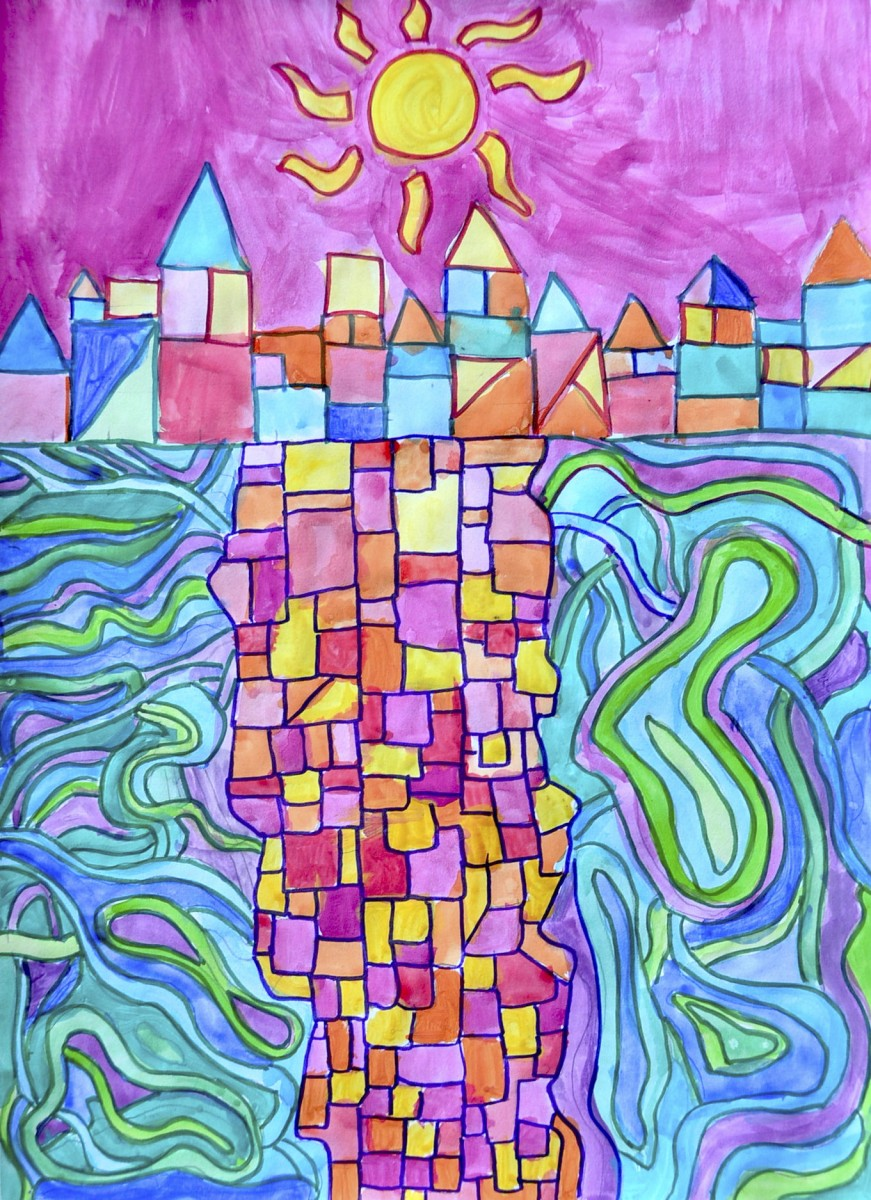 hight resolution of Watercolor landscapes in the style of Paul Klee