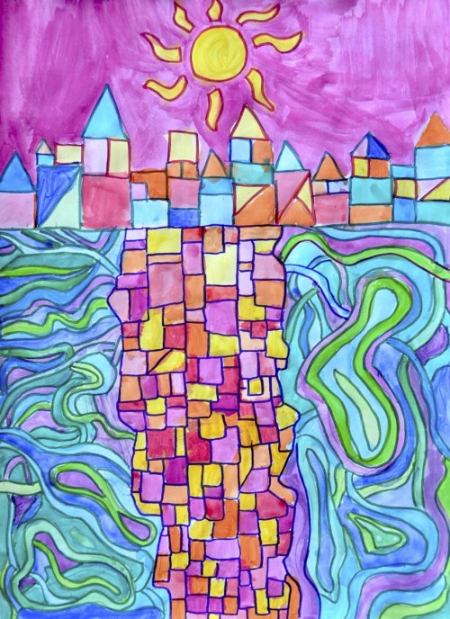 small resolution of Watercolor landscapes in the style of Paul Klee
