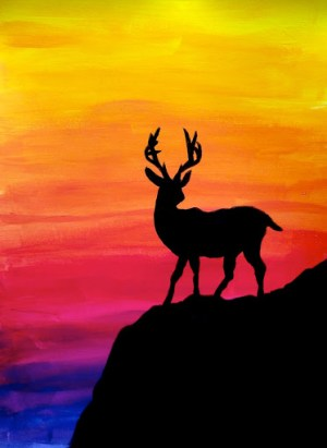 silhouette colorful gradation acrylic colour colours painted background class bright arteascuola grade gradations learned mixing then them painting silhouettes easy