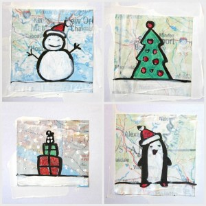 cards christmas drawing card map draw simple scraps maps arteascuola holiday drawn cardboard visit