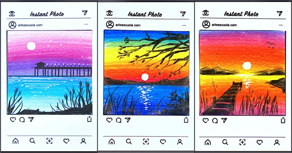 medium resolution of Instant photo: drawing small landscapes