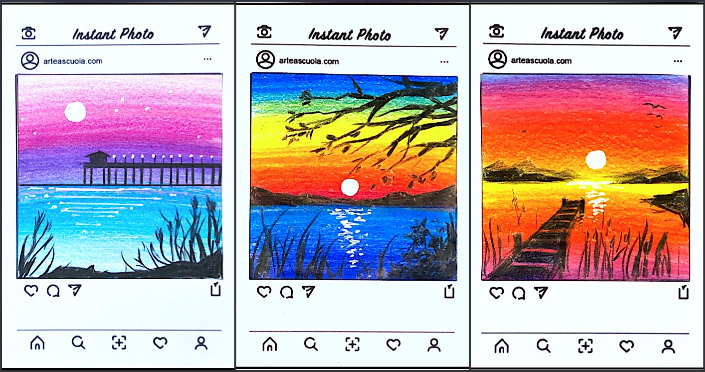 hight resolution of Instant photo: drawing small landscapes