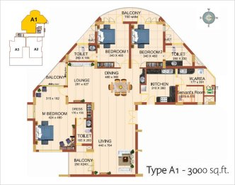 Artech City Kalyani, Trivandrum Layout Type A1