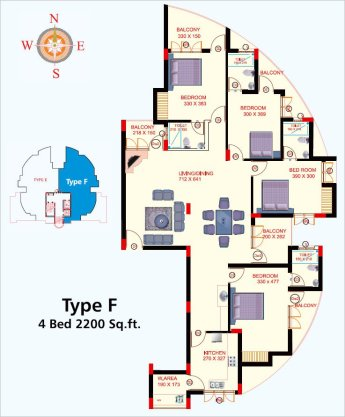 Artech Lake Castle, Kollam Layout Type - F
