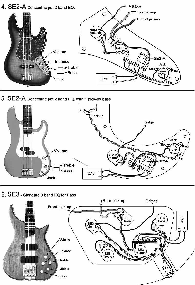 hight resolution of se3 with 2 pickups bass