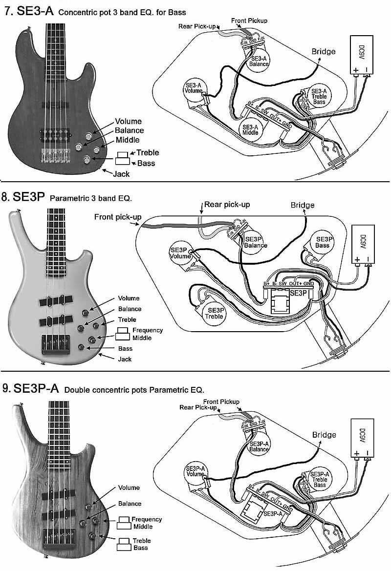 medium resolution of se3 a with 2 pickups bass 8 se3p with 2 pickups bass 9 se3p a with 2 pickups bass