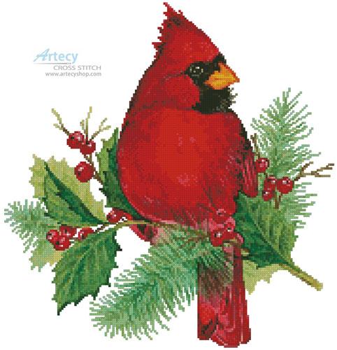 Artecy Cross Stitch Cardinal And Holly Cross Stitch
