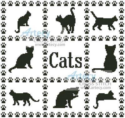 Artecy Cross Stitch. Cat Sampler Cross Stitch Pattern to