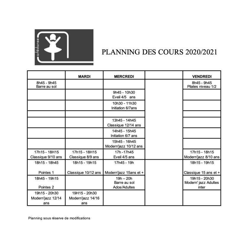 Planning des cours 2020-2021 Artédanse Nantes