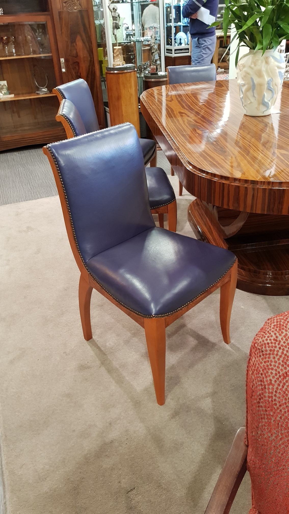 Art Deco Dining Chairs Set Of 6 French Art Deco Leather Dining Chairs