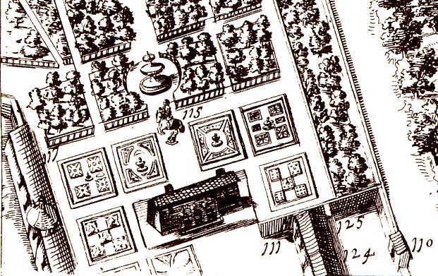 """Plano de Texeira (1656). Con el nº 117 aparece el """"Dios de las Aguas""""."""
