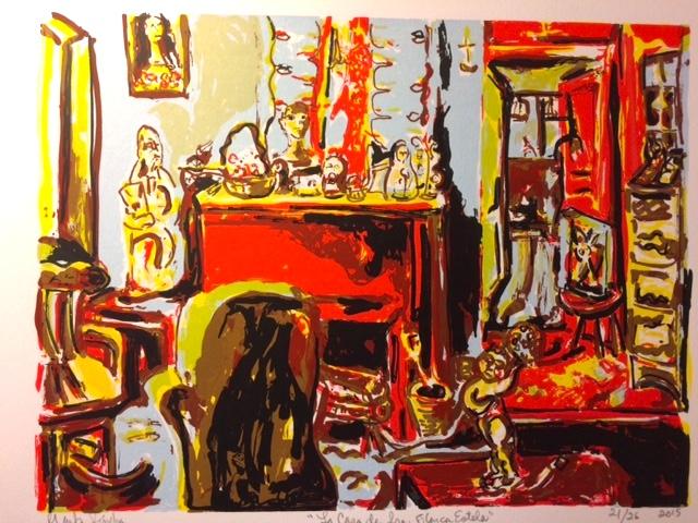 La casa de Blanca Estela one of the last prints created at Coronado Studio, Austin,TX 2014