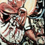 """This painting is about baseball player Fernando Valenzuela text reads""""Fernando Valenzuela and the mushroom workers from Chester County."""""""